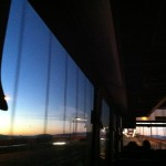 On the Golden Gate Bridge with the Santa Rosa/SFO Airport Express bus at 6am.