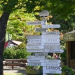 Signs to various wineries in the town of Sonoma.